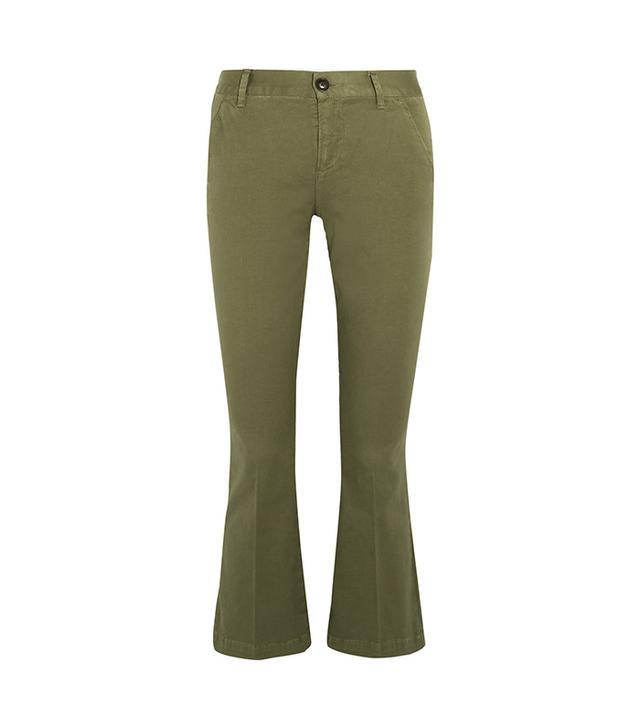 Crop Cotton-blend Flared Pants