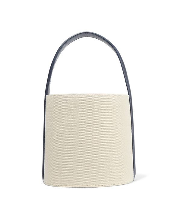 Staud Leather-trimmed Cotton-canvas Bucket Bag