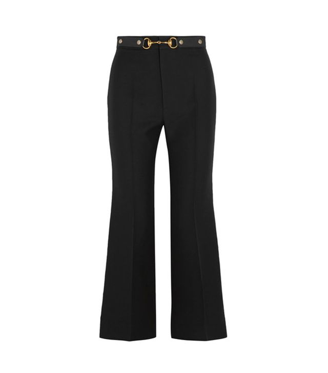 Horsebit-detailed Wool And Silk-blend Crepe Wide-leg Pants