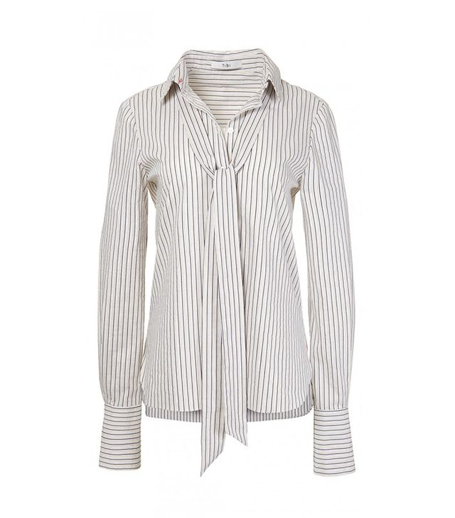 Luxe Striped Shirting with Tie Detail