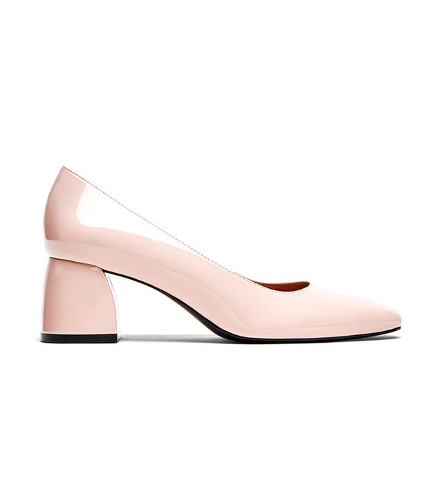 Zara Mid Heel Faux Patent Court Shoes