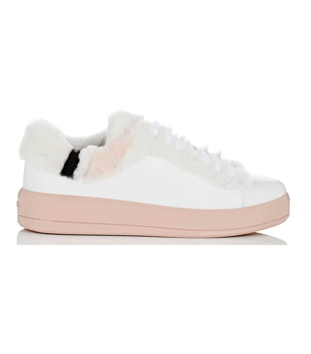 Women's Shearling-Trimmed Leather Sneakers