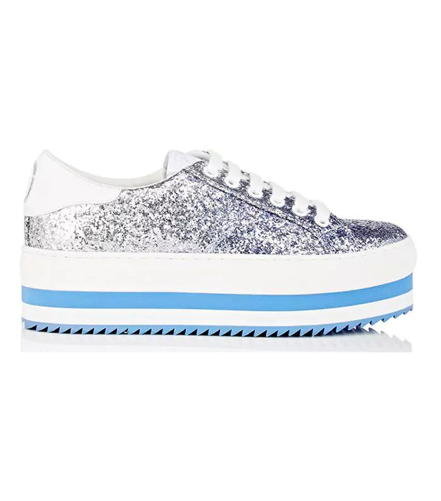 Women's Blue Grand Glitter Platform Sneakers