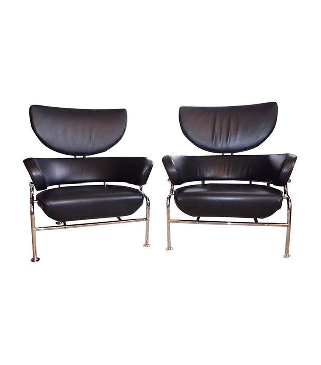 Franco Albini for Cassina Pair of Black Leather Armchair Three Pezzi