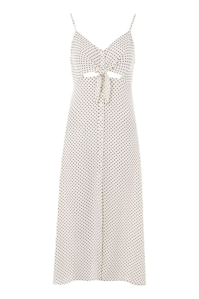Topshop Pinstar Knot Front Slip Dress
