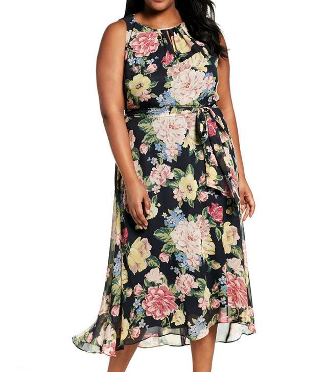 Floral Cutaway Chiffon Maxi Dress