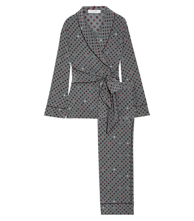 Odette Printed Washed-silk Pajama Set