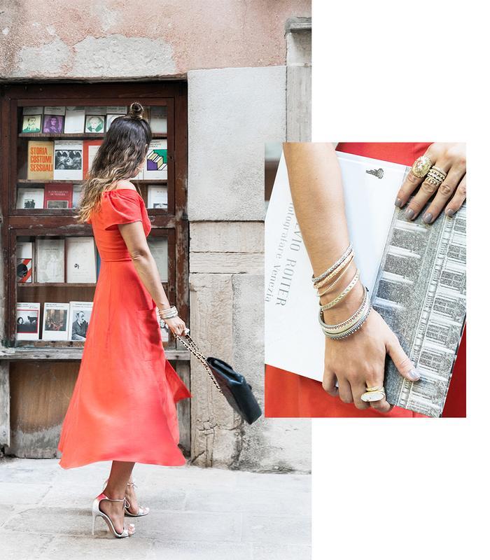 red dress metallic heels
