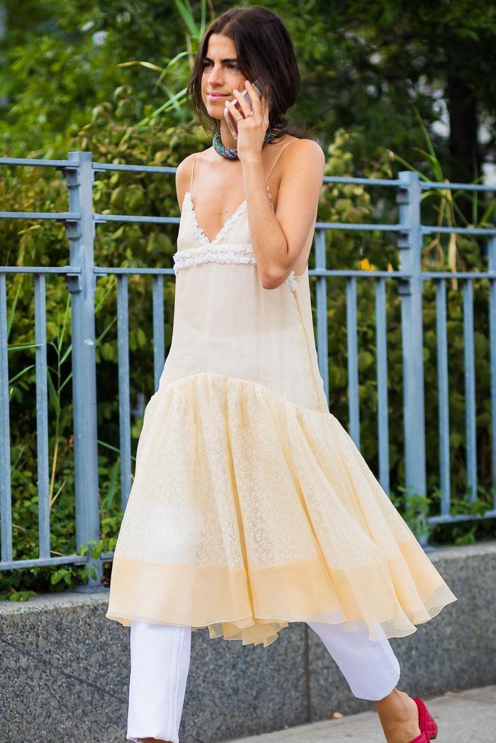 Leandra Medine Wearing Pearl Dress