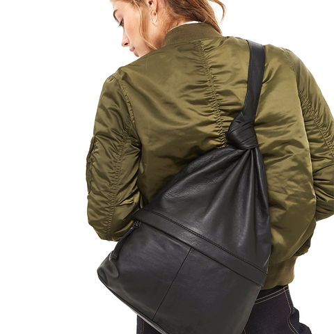 Premium Leather Slouch Knot Backpack