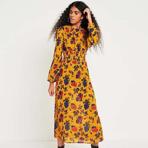 Floral Shirred Waist Midi Dress