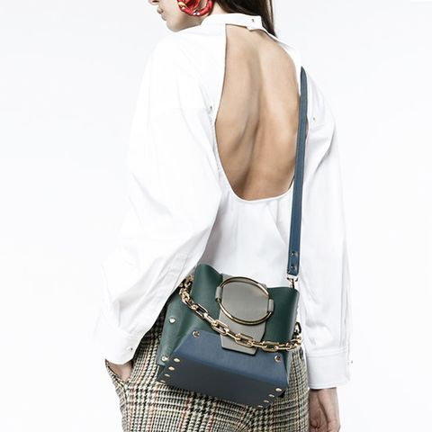 Small Green Leather Delila Bucket Bag