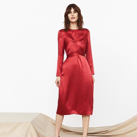 Simone Silk Tie-Waist Dress
