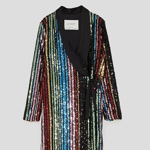 Multicoloured Sequin Wrap Dress