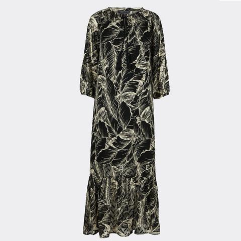 Palm Print 3/4 Sleeve Tunic Maxi Dress