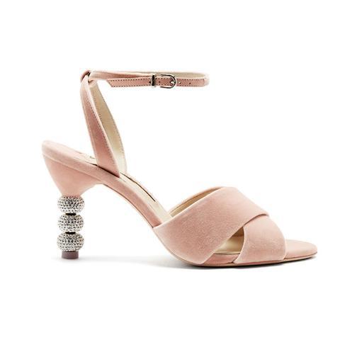 Natalia Crystal Embellished Velvet Sandals