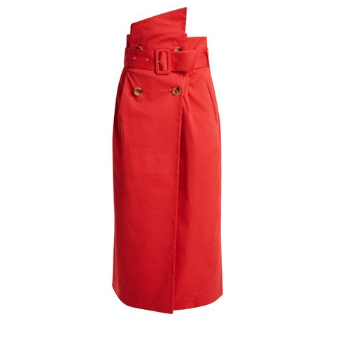 Gathered-Waist Cotton-Twill Skirt