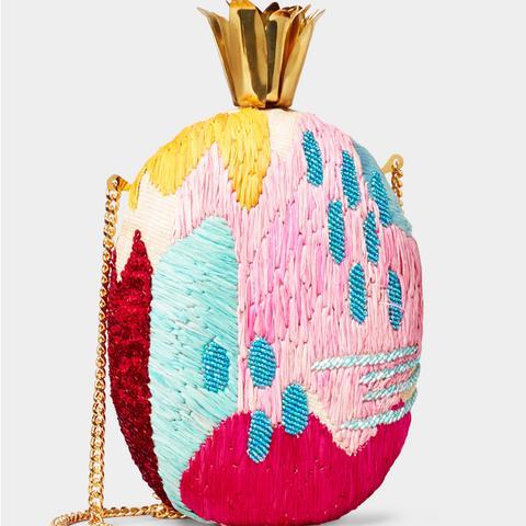 Pina Rama Embroidered Raffia Shoulder Bag