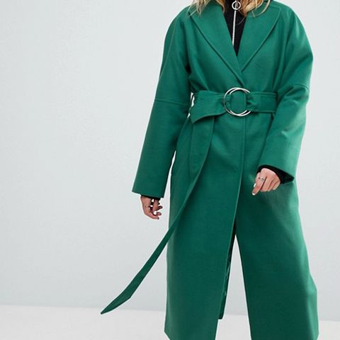 Green D Ring Belted Long Coat