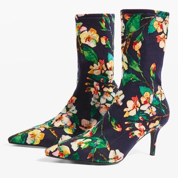 Topshop Mojito Floral Sock Boots