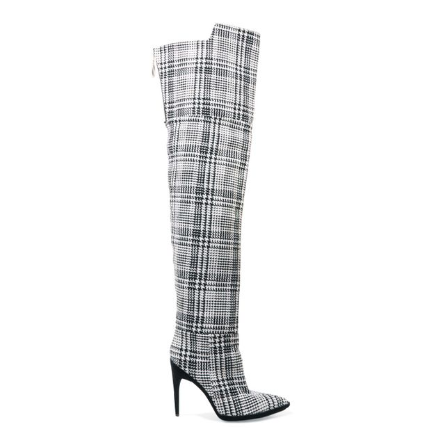 Boot Trends 2017: Off-White Tartan Textured-Knit Over-The-Knee Boots