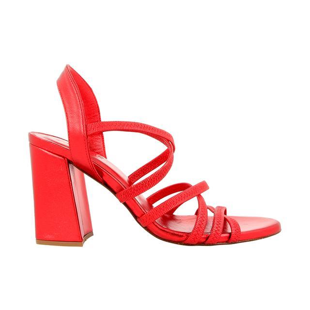 By Far Berta Metallic Red Heels