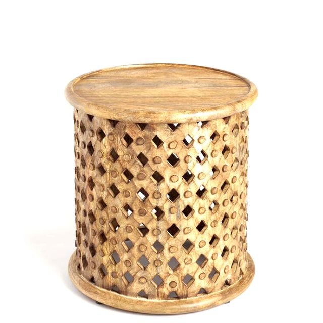 Tribal Carved Wood Accent Table: Brown by World Market
