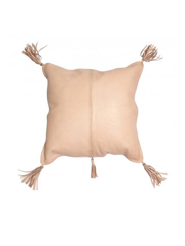 Arvika Leather Tassel Cushion