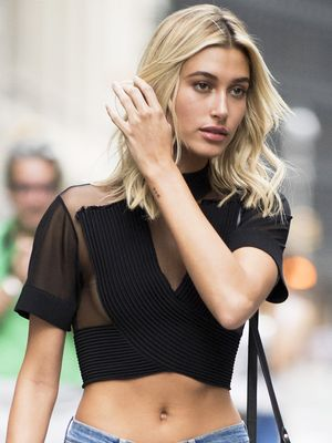 Hailey Baldwin Wore a Naked Shirt and Skinnies to the VS Fashion Show Castings