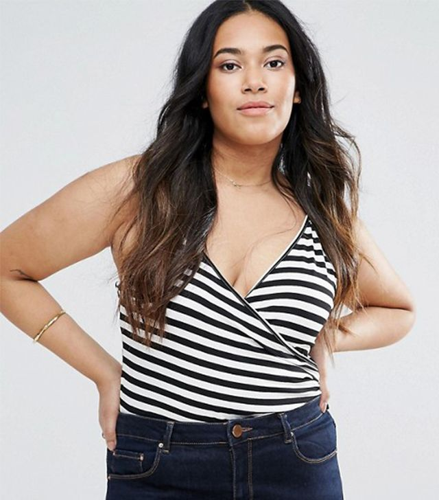 ASOS CURVE Cami Body With Wrap Front In Stripe