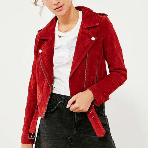 Red My Mind Suede Moto Jacket