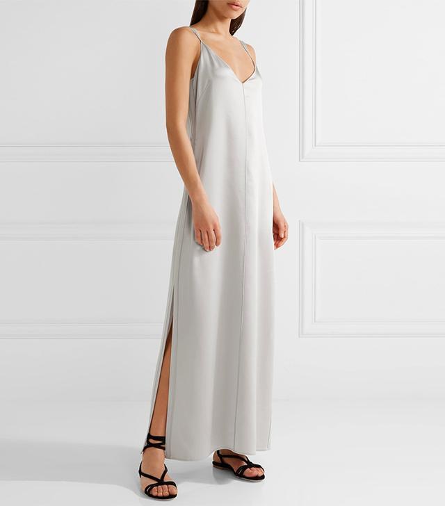 Pearl Crepe-trimmed Satin Maxi Dress