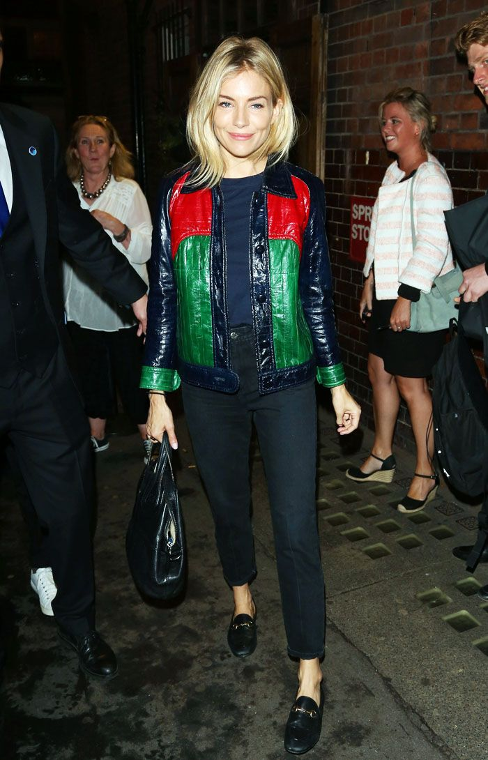Sienna Miller coloured leather jacket