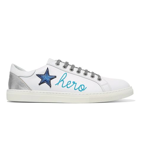 You Lose Appliquéd Embroidered Leather Sneakers