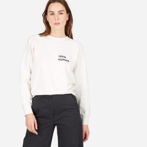 Women's 100% Human French Terry Sweatshirt in Small Print by Everlane in Bone, Size S