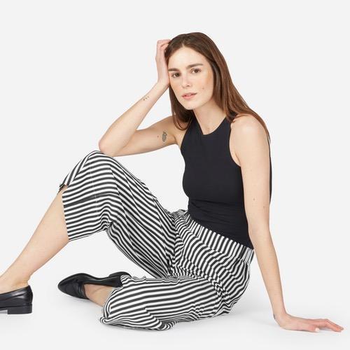 Women's Silk Wide Leg Pant by Everlane in Bold Stripe, Size 0