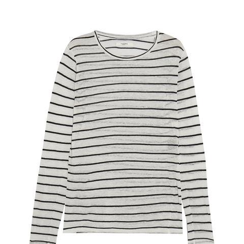 Aaron Striped Slub Linen-Blend Jersey Top