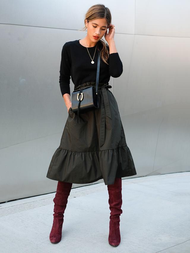 midi skirt scrunch boots