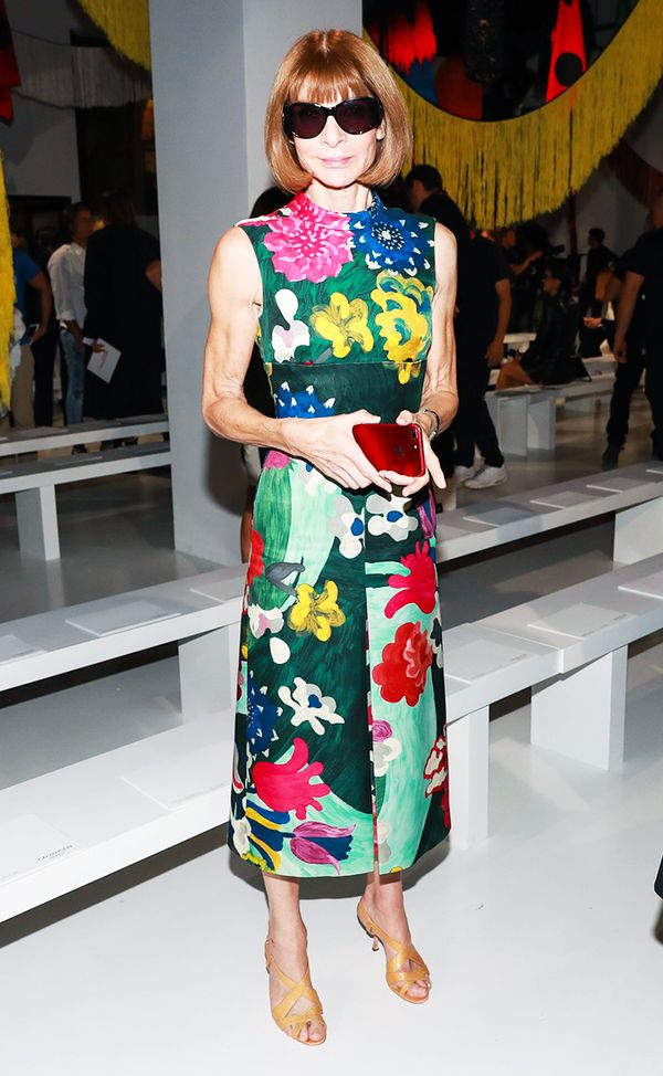WHO: Anna Wintour WHAT: Calvin Klein S/S 18 show WEAR: Prada dress.