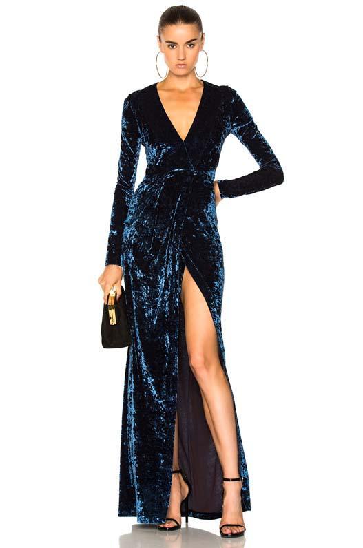 Hammered Velvet Long Sleeved Dress