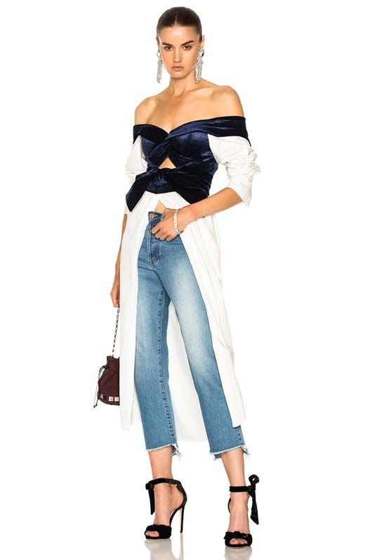 Carmen Cotton Poplin & Silk Rayon Velvet Dress