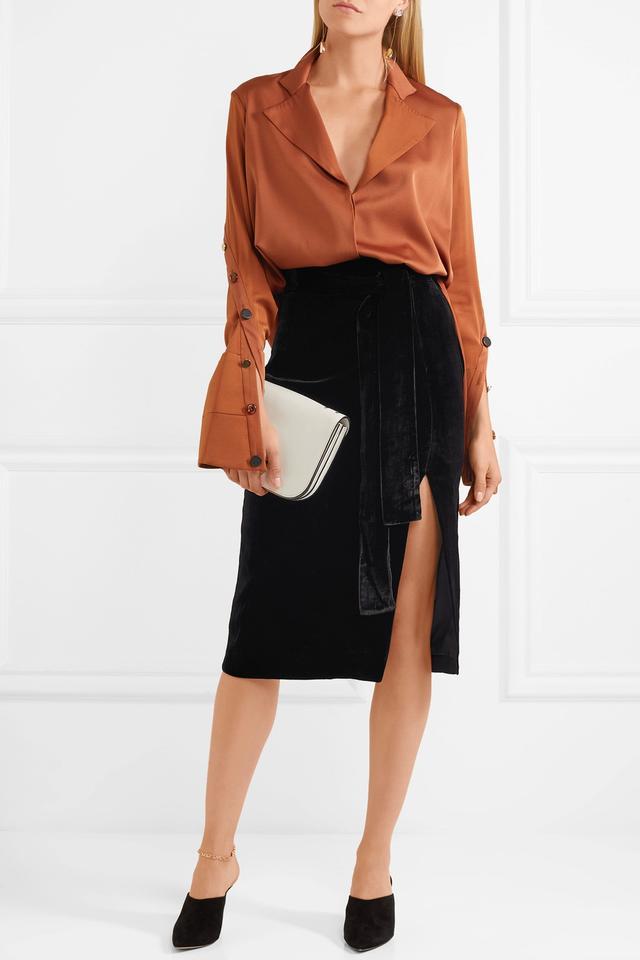 Kirsten Belted Velvet Skirt