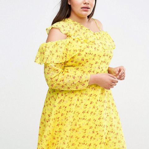 Cold-Shoulder Ruffle Dress