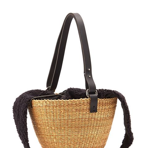 Egg Faux-Shearling and Woven-Straw Bag