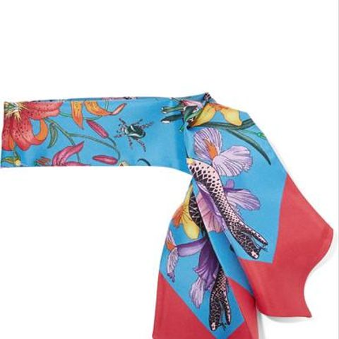 Flora Snake Printed Silk-Twill Scarf