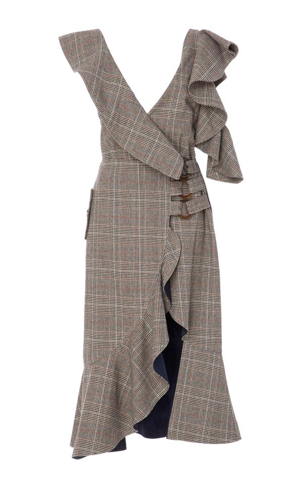 Ruffled Plaid Wrap Dress