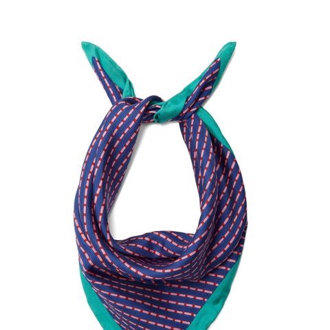 Stripe-print silk scarf