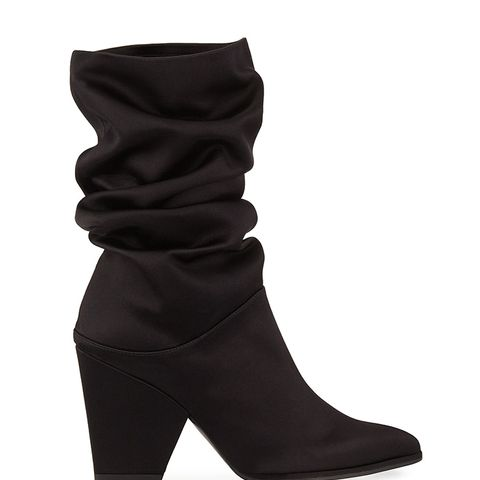 Crush Scrunch Satin Ankle Boots