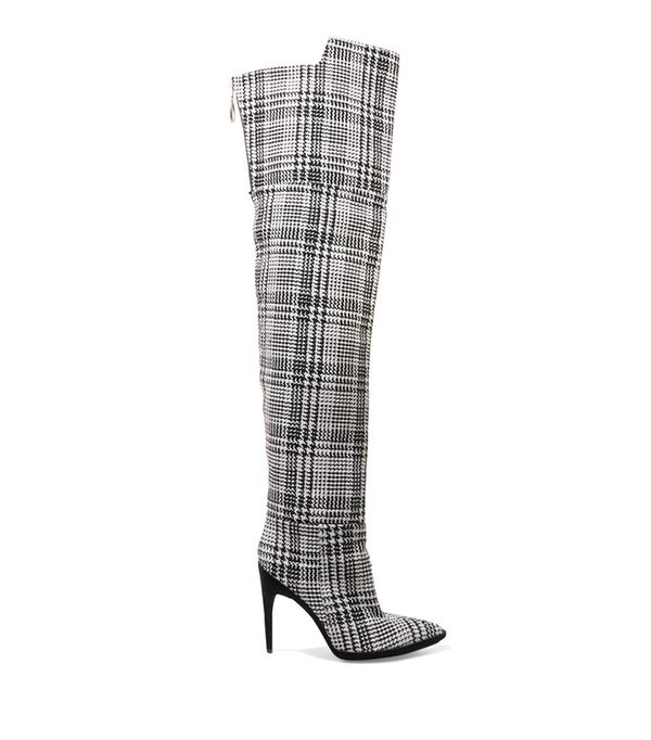 Tartan Textured-knit Over-the-knee Boots