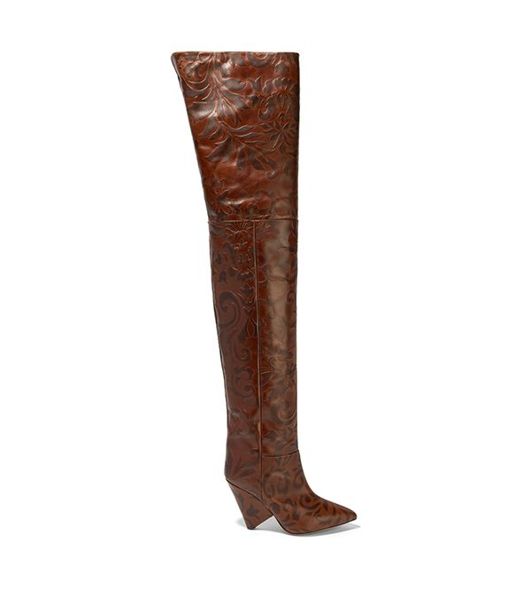 Lostynn Embossed-leather Over-the-knee Boots